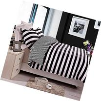 NTBAY 3 Pieces Duvet Cover Set Black and White Stripe