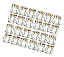 Nakpunar 24 pcs , 1.5 oz Mini Hexagon Glass Jars with Gold