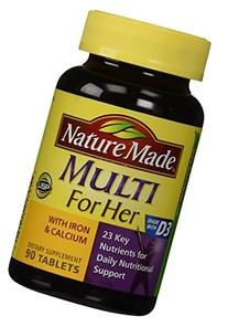 Nature Made, Multi For Her with Iron and Calcium, 90-Count