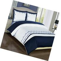 Navy and White Amalia 3-piece Full / Queen Comforter Cover