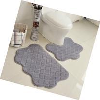 2 Piece Bathroom Rug Set No Slip Pedestal Mat