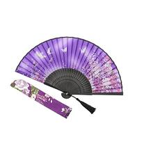 OMyTea® Women Hand Held Silk Folding Fans with Bamboo Frame