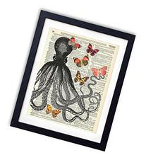 Octopus With Butterflies Upcycled Vintage Dictionary Art