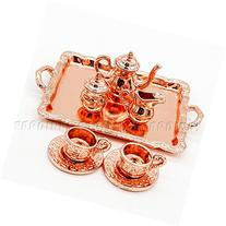 Odoria 1:12 Miniature 8PCS Vintage Copper Tea Cup Coffee