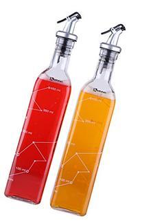 Oil and Vinegar Dispenser Salad Dressing Cruet Glass Bottle