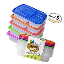 Orgalif BPA-Free 3-compartment Reusable Plastic Bento Lunch