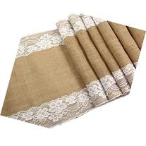 OurWarm Burlap Lace Hessian Table Runner Jute Country