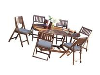 Outdoor Interiors S10555 7-Piece Fold and Store Table Set,