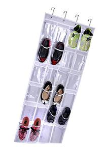Storage Over The Door Hanging Shoe Organizer with 24 Clear