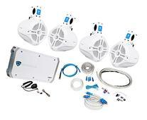 """4 Rockville RWB65W 6.5"""" Marine Wakeboard Speakers+4 Channel"""