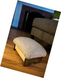"""Padded Foot Stool Solid Fabrics 7"""" Tall, Chic Stain"""