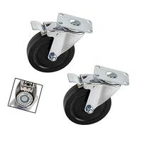 Pair Heavy-Duty 5 in. Swivel Casters with Double-Lock Brake