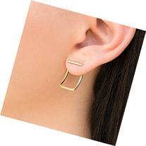 Pair of gold line studs with curved ear jacket earrings,