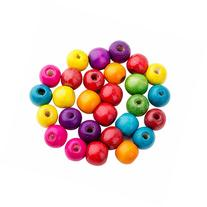 Pandahall 100pcs Assorted color Dyed Lead Free Round Wood