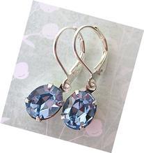 Periwinkle Vintage Rhinestone Earrings. Light Sapphire