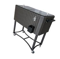 Permasteel PS-208-BB Patio Wicker Cooler, 80 quart, Black/