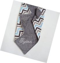 Personalize Double Minky Baby Blanket - Baby Blue/ Gray/