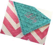Personalize Double Minky Baby Blanket - Fuchsia Chevron