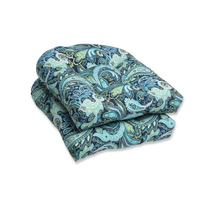 Pillow Perfect Outdoor Pretty Paisley Wicker Seat Cushion,