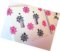 Pink And Navy Nautical Light Switch Cover - Various Sizes