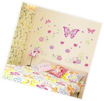 Pink Butterflies with Flowers and Petals Peel & Stick Wall