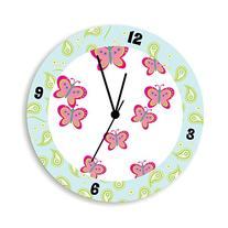 Pink Butterfly Wall Clock for Girls Bedroom, and Green