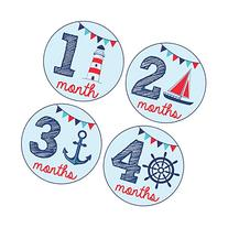 Pinkie Penguin Baby Monthly Stickers - Nautical Theme - Baby
