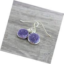 Purple Druzy Gemstone Sterling Silver Earrings