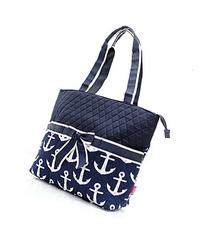 Quilted Navy And White Nautical Anchor Theme Print