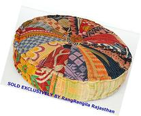 RANGILA Stuffed Indian Vintage Kantha Patch Floor Cushion;
