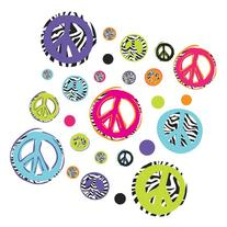 ROOMMATES RMK1860SCS Zebra Peace Signs Peel and Stick Wall