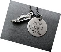 RUN LIKE A GIRL Necklace on 18 inch Gunmetal Chain - Pewter