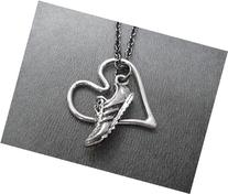 RUN WITH HEART Necklace on 18 inch Gunmetal Chain - Pewter