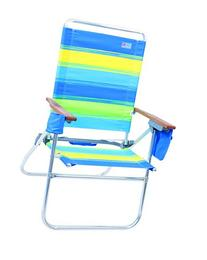 Rio Beach Hi-Boy Beach Chair, Blue/Green/Yellow Stripe