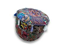 Round Patchwork Embroidered Multi Ottoman Pouf Bohemian