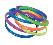"Rubber Thin Inspirational Bracelets  7 1/2"". Rubber"