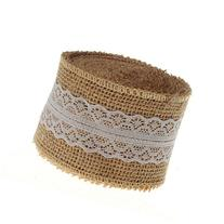 SL crafts 10 Yards Natural Hessian Burlap with Lace Ribbon 2