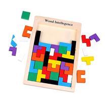 SainSmart Jr. HeaUp Wooden Tetris Puzzle, Wood Burr Tangram