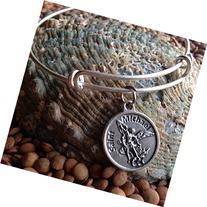 Saint Michael Archangel Silver Expandable Charm Bracelet