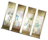 Set Of 4 Medium Hand Painting Chinese Scroll Art