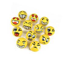 Set of 12 JUMBO Emoji Face Yellow Foam Soft Stress Novelty