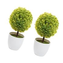Set of 2 Artificial Faux Potted Tabletop Yellow Flower Plant