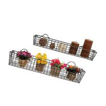 Set of 2 Gray Country Rustic Wall Mounted Openwork Metal
