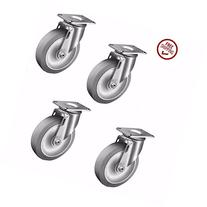 """Set of 4 Colson Swivel Plate Casters with 4"""" Soft Gray"""