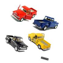 Set of 4 die-cast Chevy Stepside Pick-Up 1/32 Scale, Pull Back Action Cars