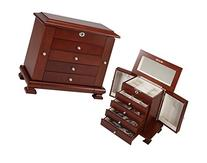 Seya Locking Wooden Jewelry Box Ring Case Storage Organizer