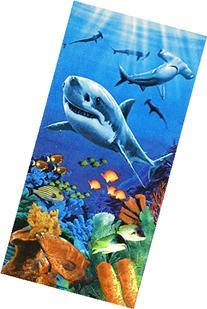 Sharks colorful reef velour brazilian beach towel 30x60