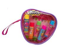 Shopkins Lip Balm 5 Scented Tubes Gift Set in a Reusable
