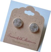 Silver-Tone Stud Earrings 12mm Gray Faux Druzy Stone