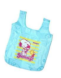 "Snoopy Reusable Grocery Nylon Bag 20"". Light Blue"